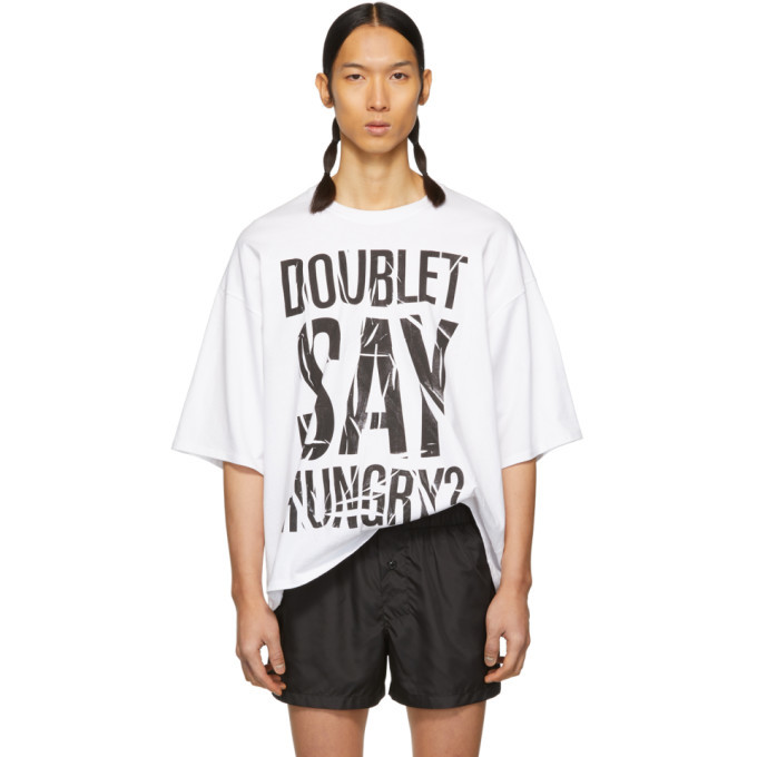 Photo: Doublet White Compressed Instant Noodle Slogan T-Shirt