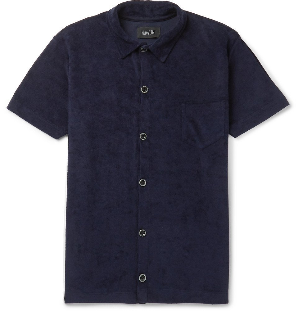 Photo: Howlin' - Slim-Fit Cotton-Blend Terry Shirt - Navy