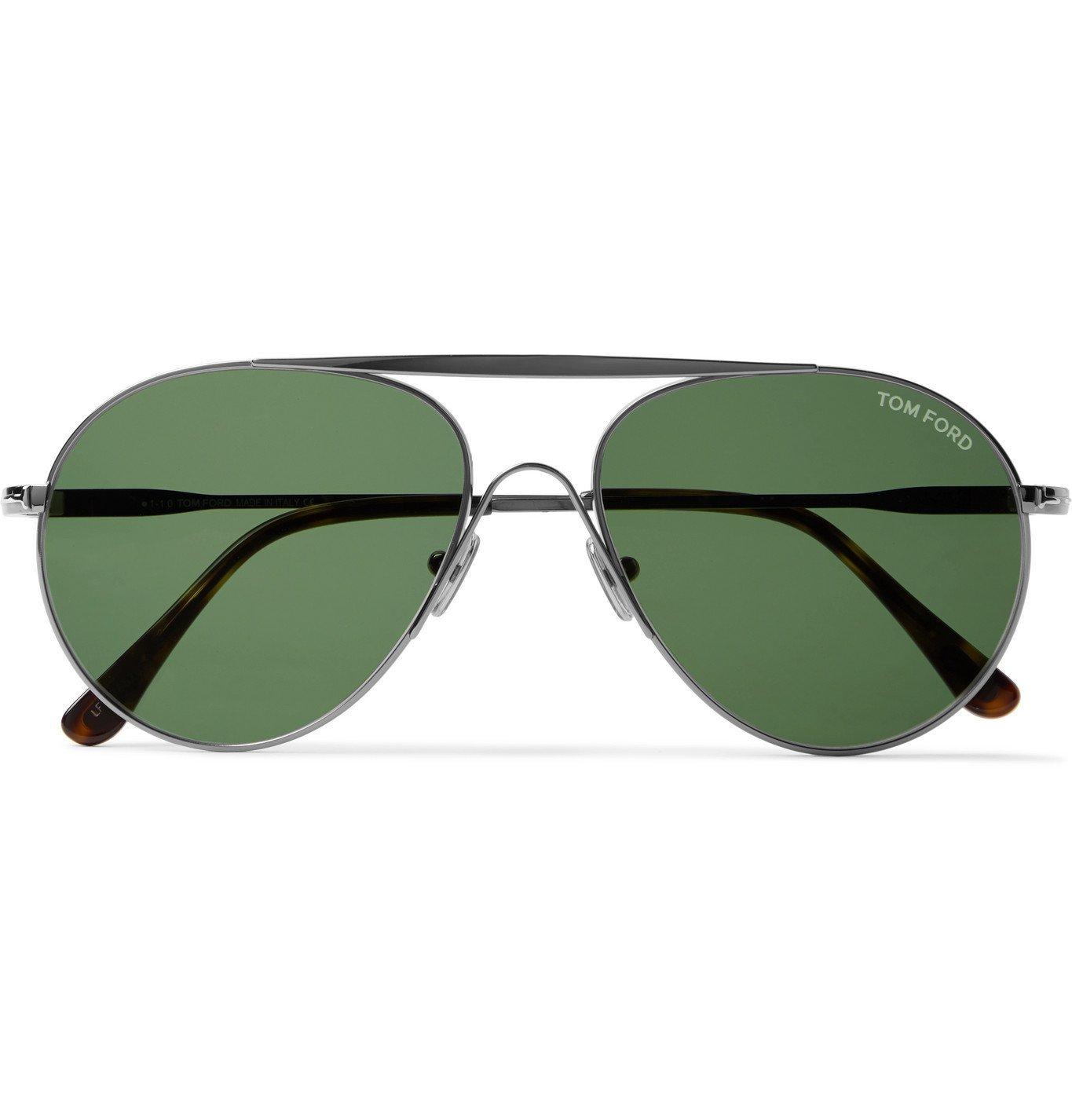 Photo: TOM FORD - Aviator-Style Ruthenium Sunglasses - Silver