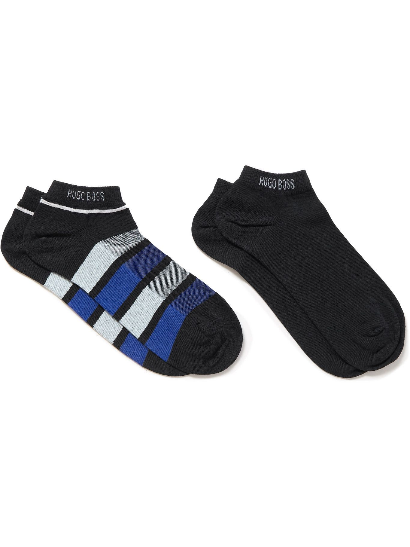 Photo: HUGO BOSS - Two-Pack Stretch Cotton-Blend No-Show Socks - Blue