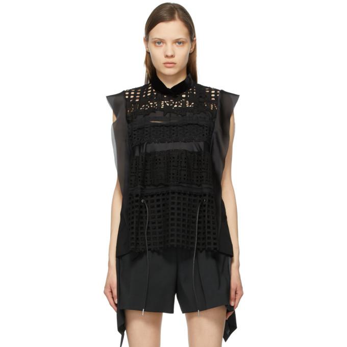 Sacai Black Star Embroidered Blouse
