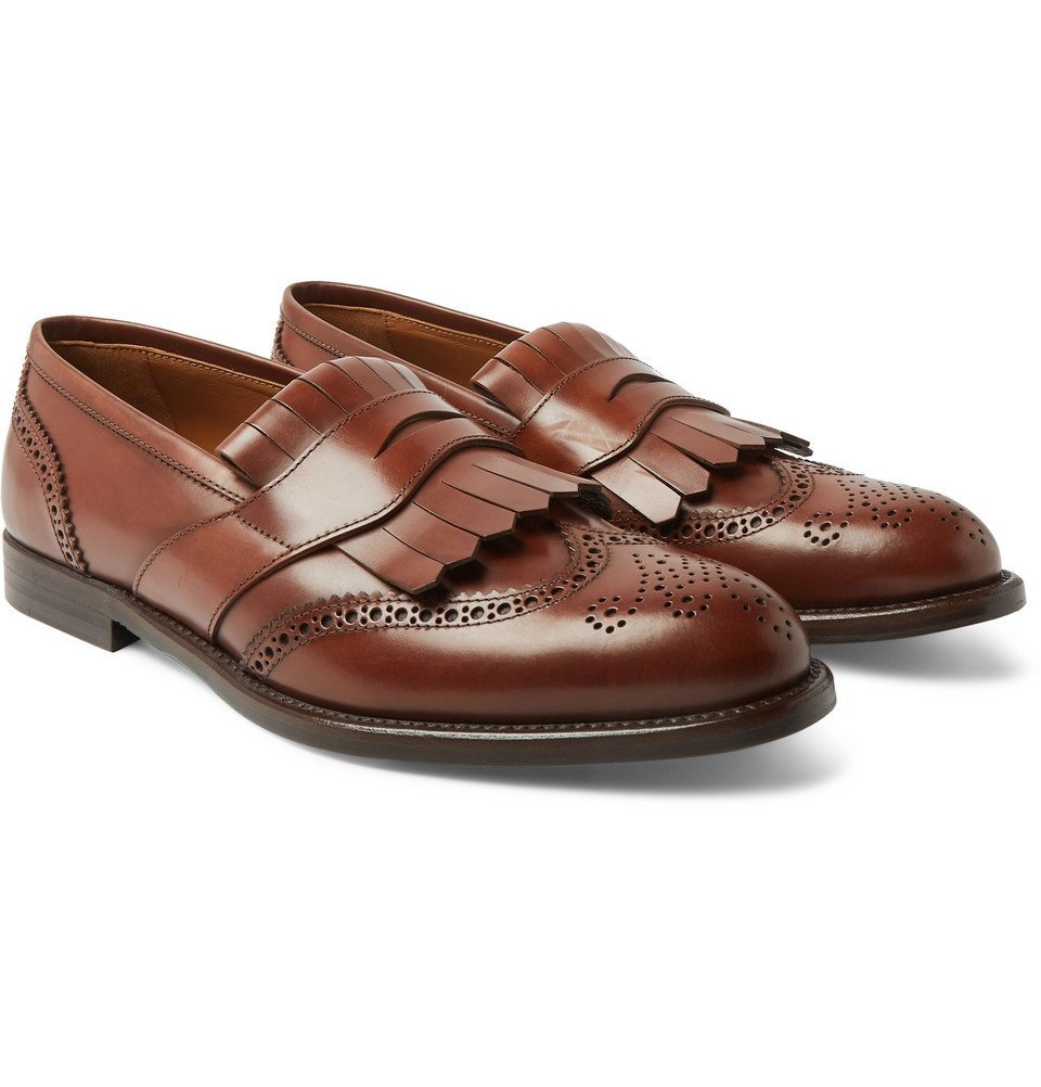Photo: Brunello Cucinelli - Brogue-Detailed Leather Kiltie Loafers - Brown
