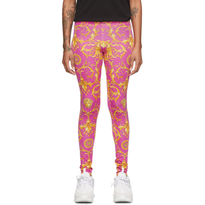 Versace Pink Cowboy Foulard Printed Leggings