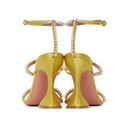 Amina Muaddi Yellow Satin Naima Crystal Heels