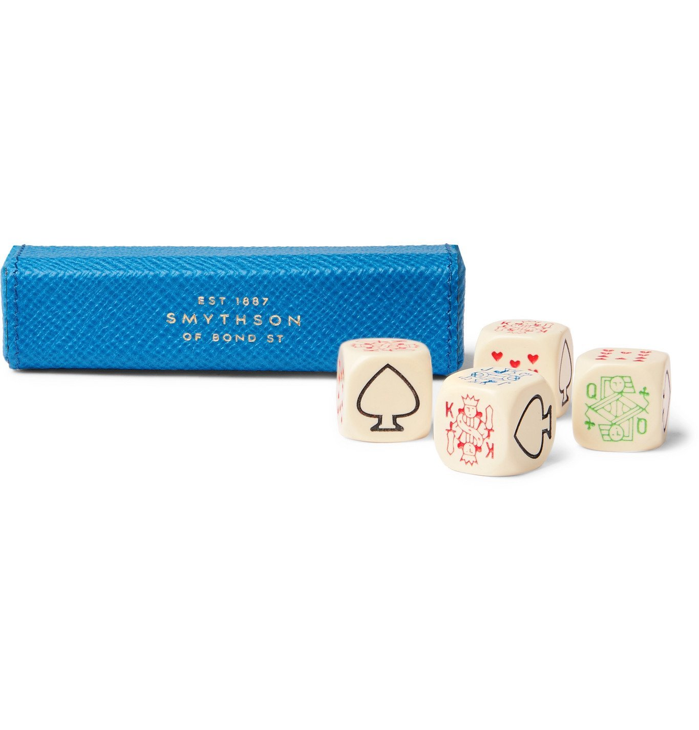 Smythson - Panama Cross-Grain Leather Poker Dice Set - Blue
