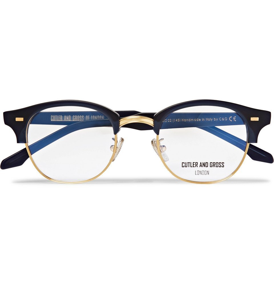 Photo: Cutler and Gross - D-Frame Acetate And Gold-Tone Optical Glasses - Midnight blue