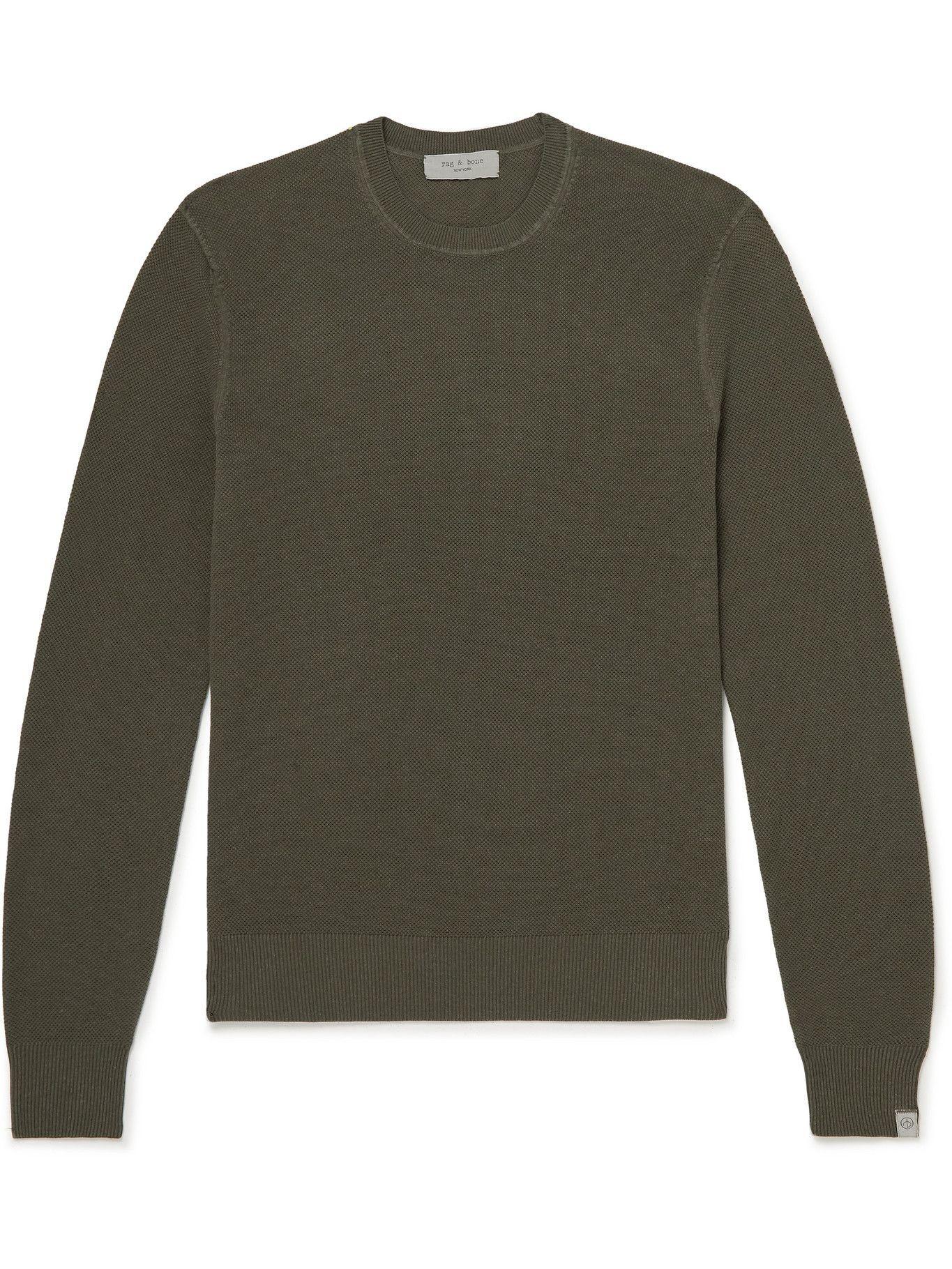 Photo: RAG & BONE - Cotton and Hemp-Blend Piqué Sweater - Green