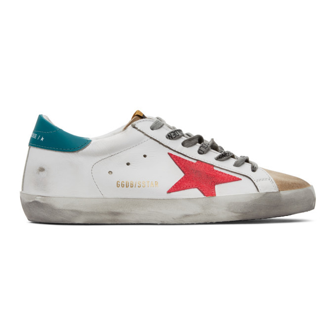 Photo: Golden Goose White and Tan Superstar Sneakers