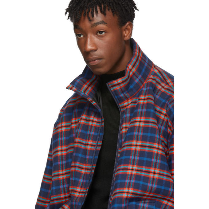Balenciaga Blue and Red Check Flannel Quilted Zip-Up Jacket