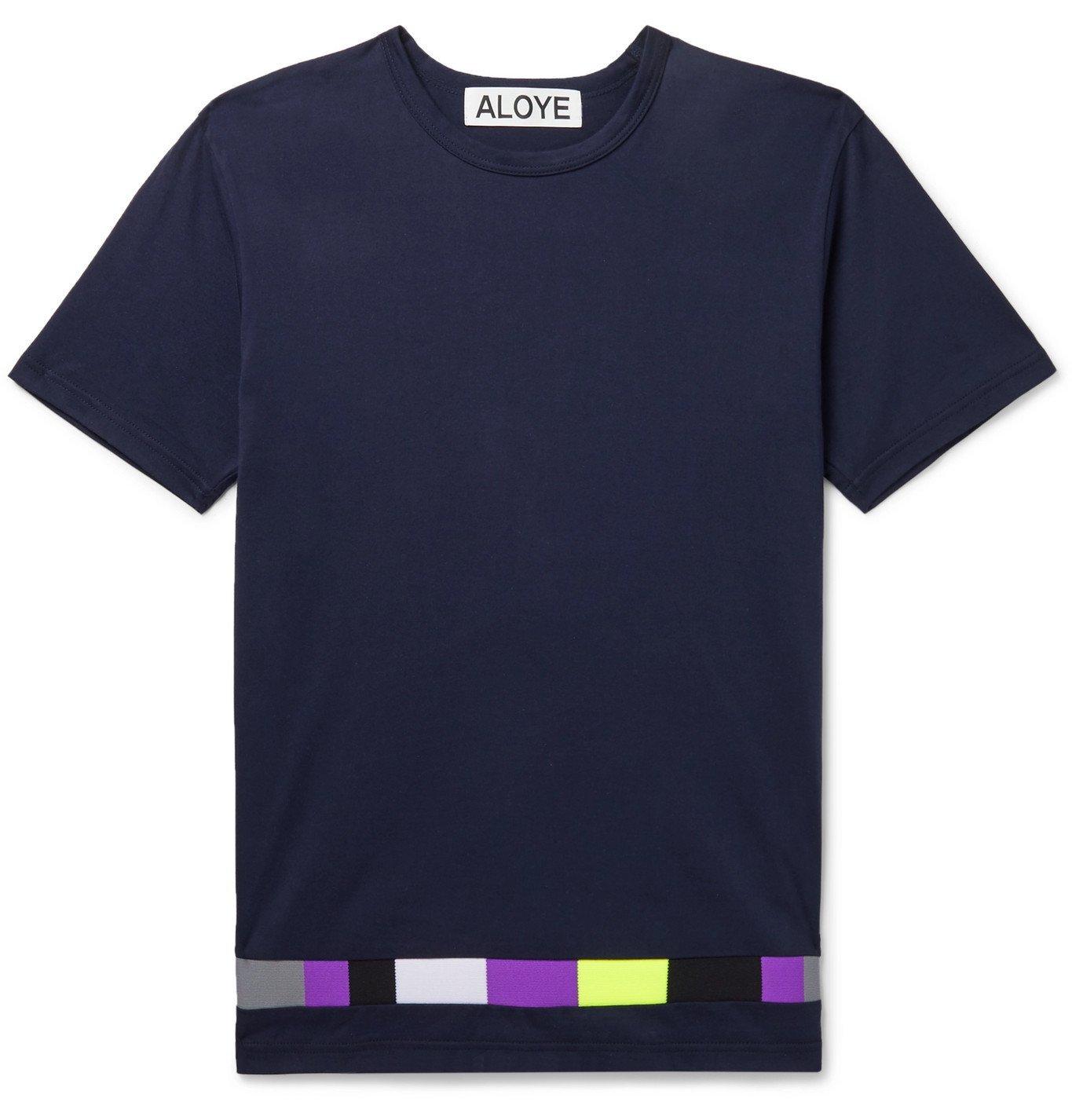 Photo: Aloye - Panelled Cotton-Jersey T-Shirt - Blue
