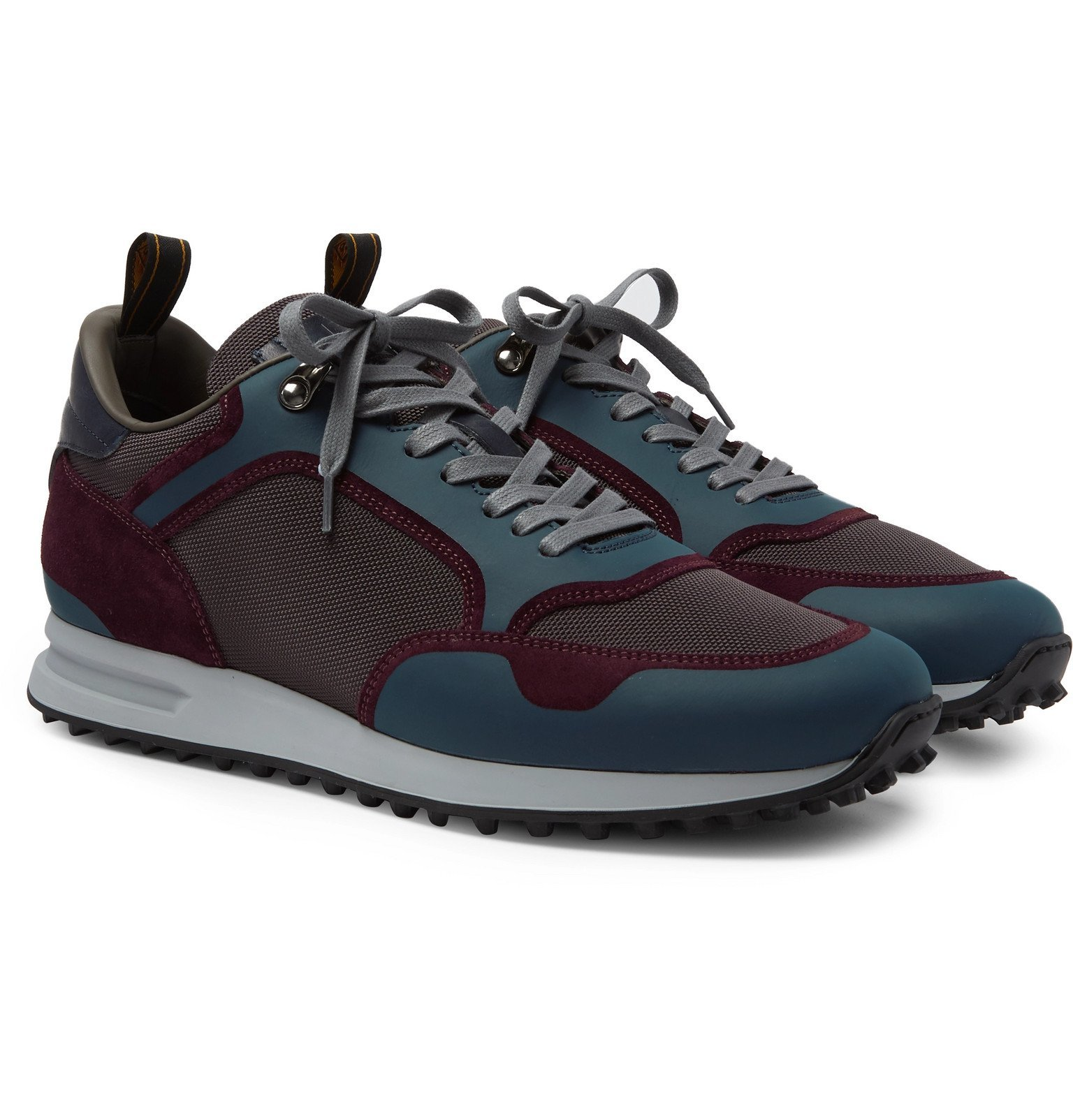 Photo: Dunhill - Radial Runner Leather and Suede-Trimmed Mesh Sneakers - Blue