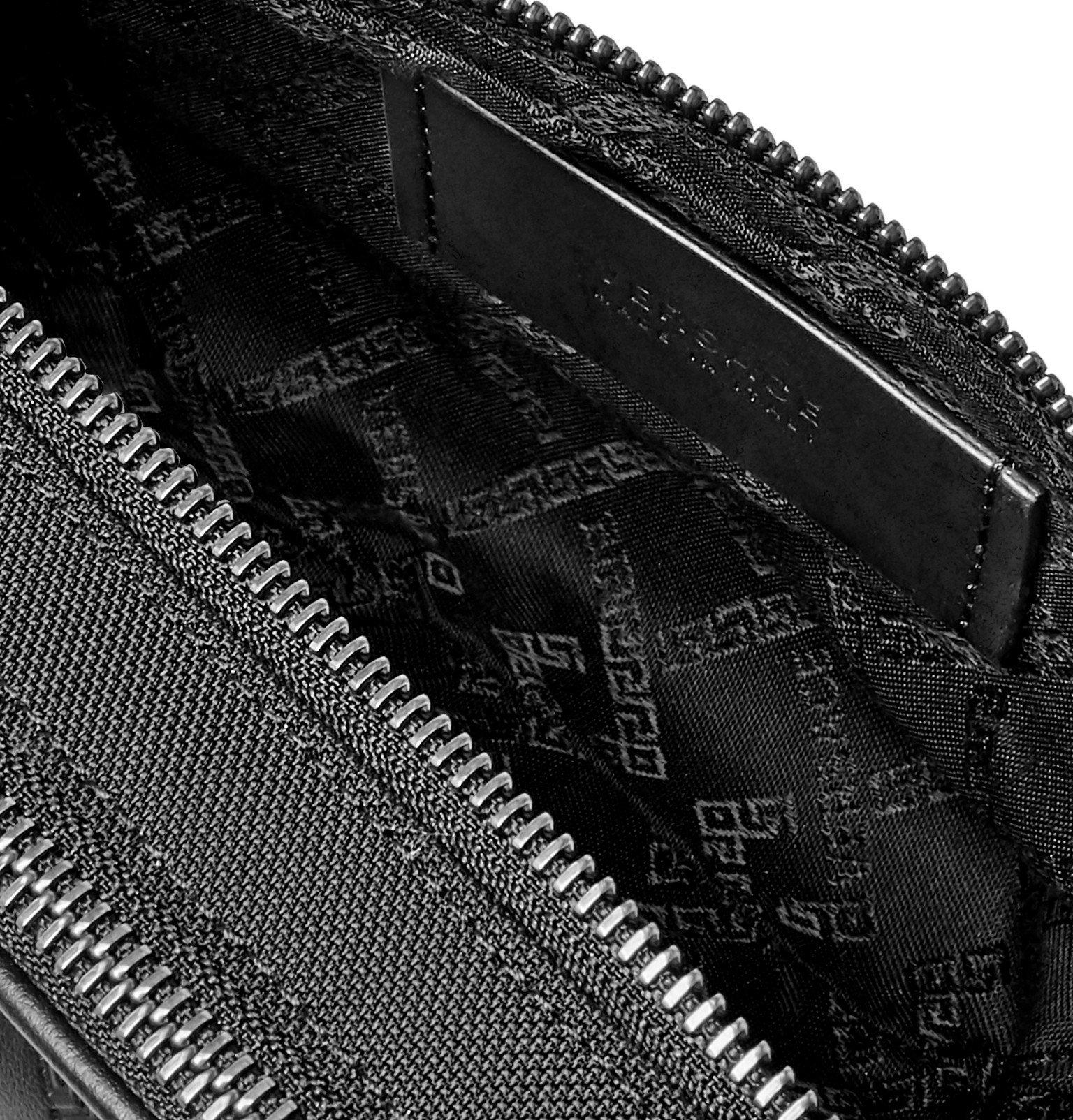 Versace - Logo-Appliquéd Leather and Canvas Belt Bag - Black