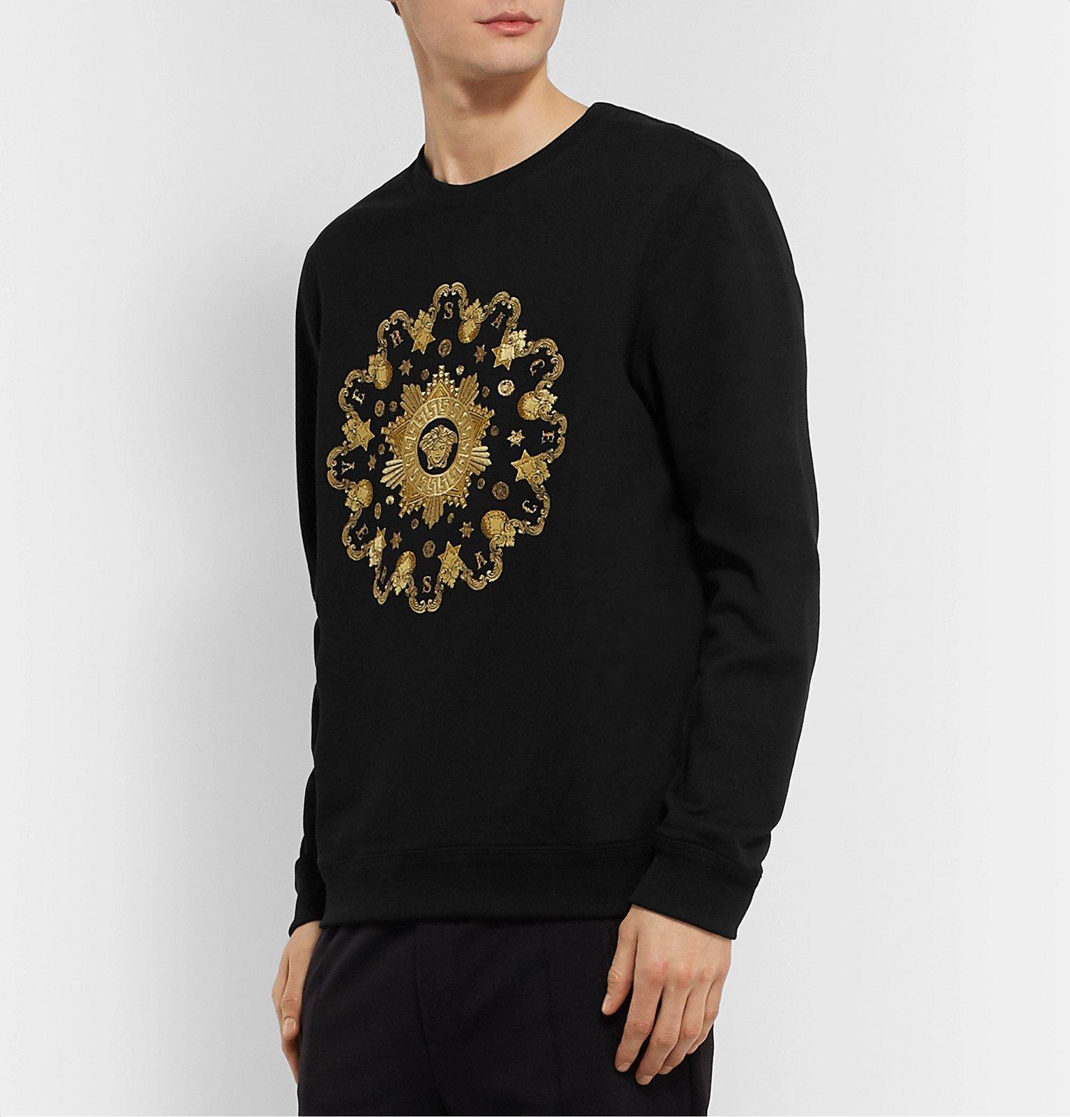 Versace - Logo-Embroidered Fleece-Back Cotton-Jersey Sweatshirt - Black