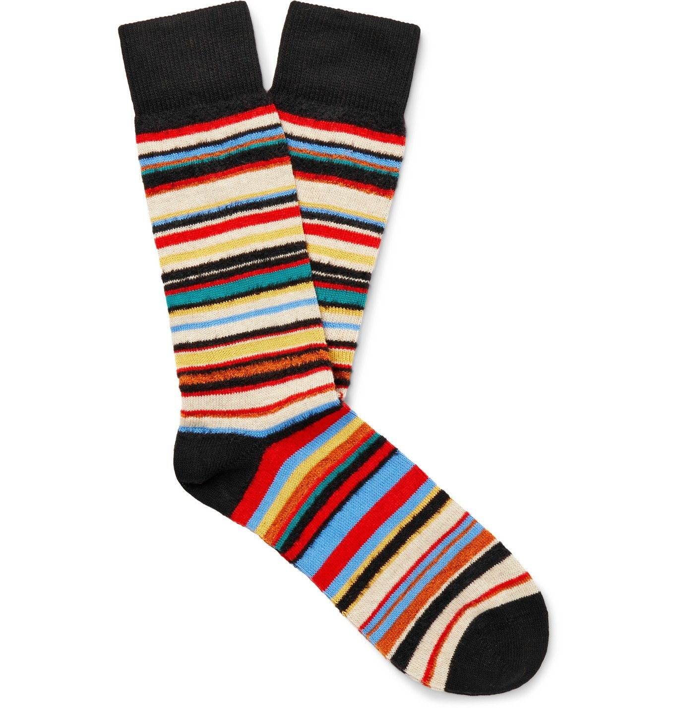 Photo: PAUL SMITH - Striped Textured Cotton-Blend Socks - Multi