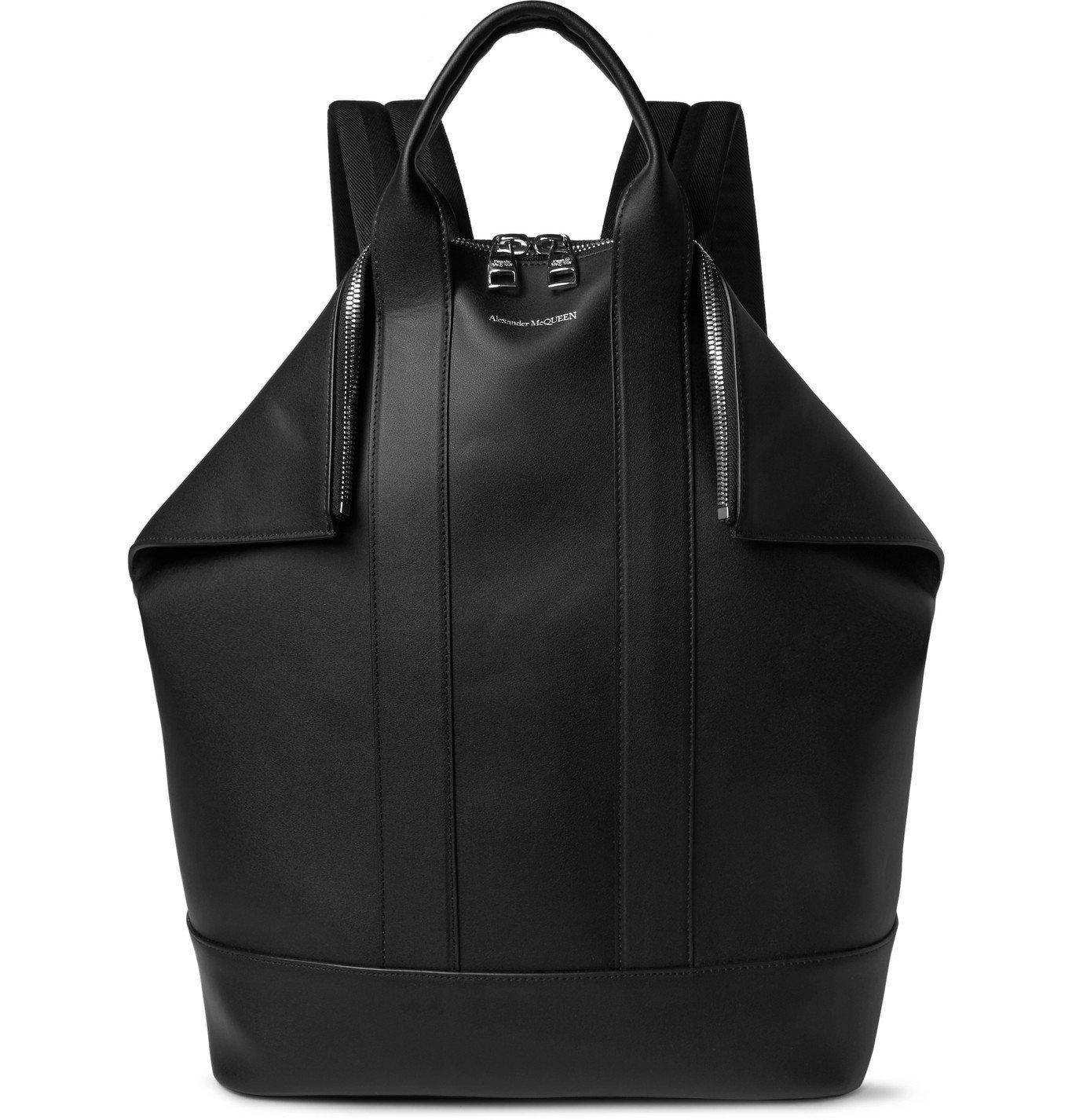 Photo: Alexander McQueen - De Manta Leather Convertible Tote Bag - Black