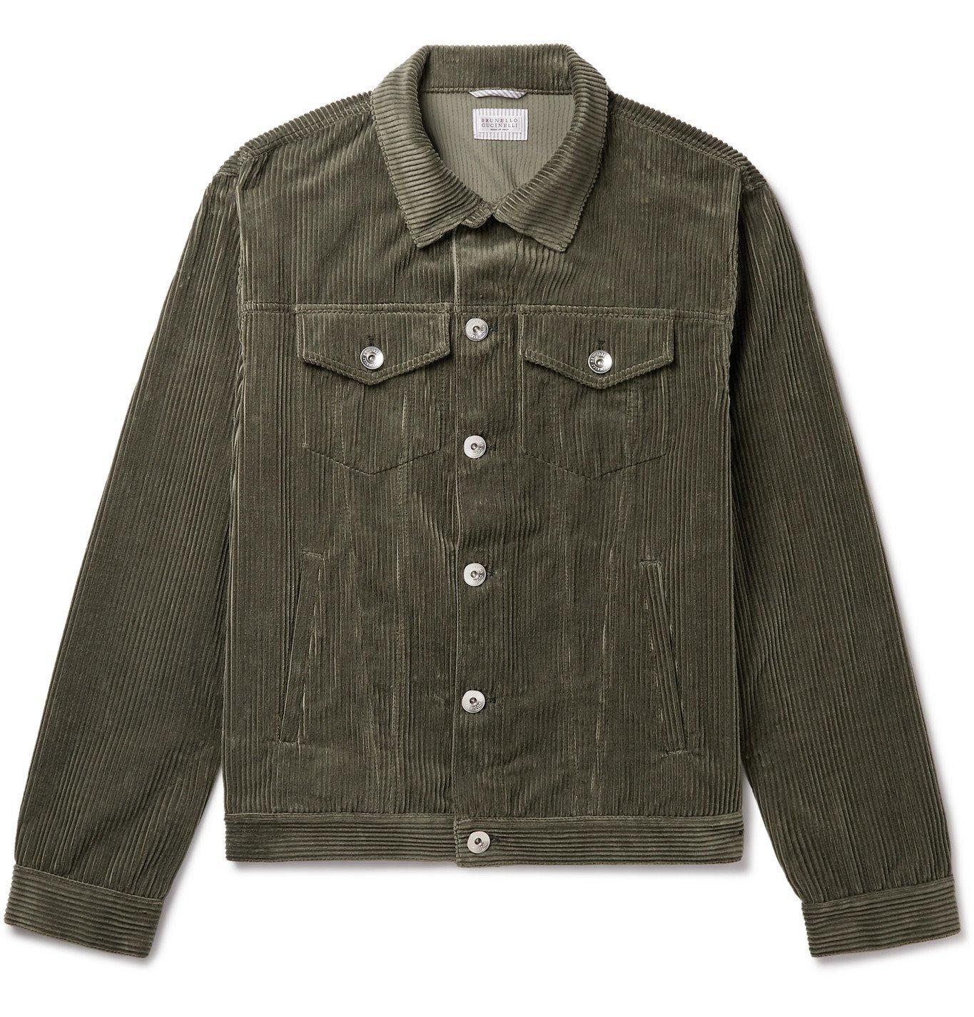 Photo: Brunello Cucinelli - Sea Island Cotton and Cashmere-Blend Corduroy Trucker Jacket - Green