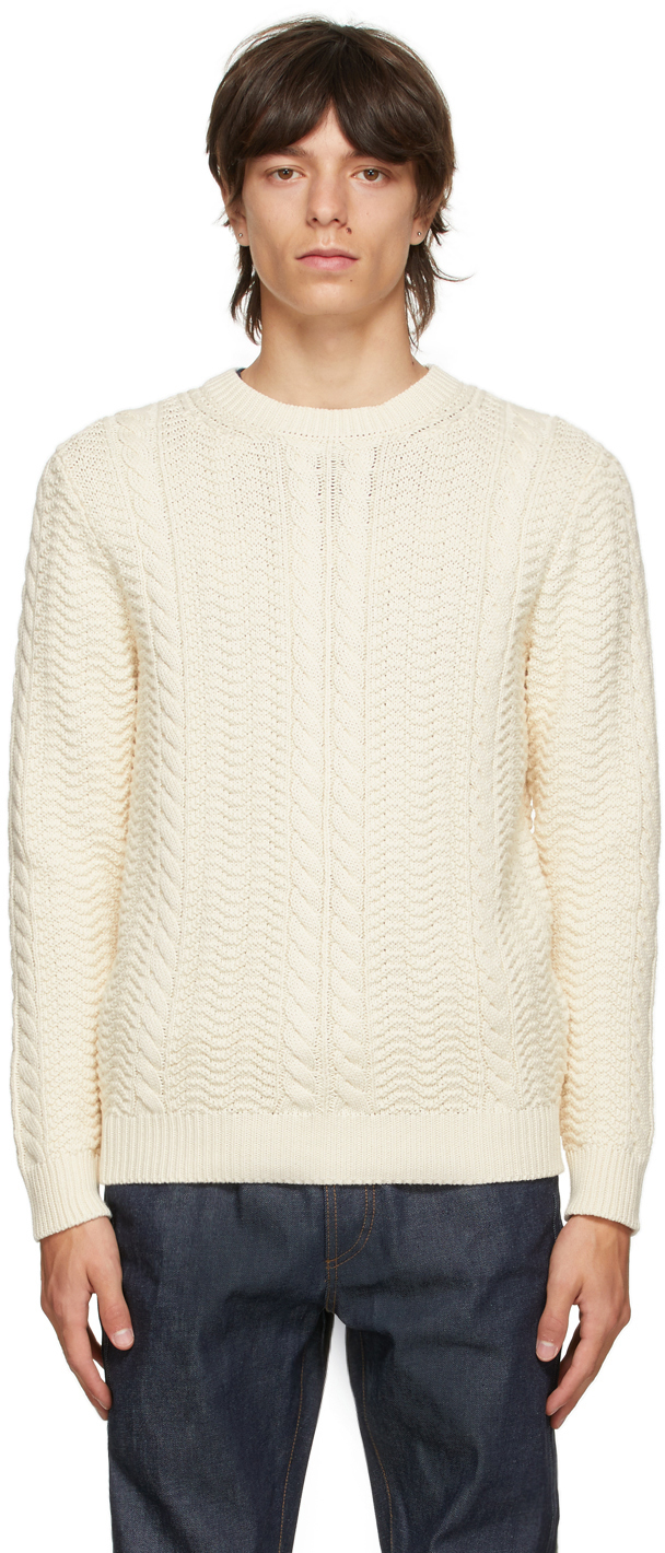 Photo: A.P.C. Off-White Cable Knit Clay Sweater