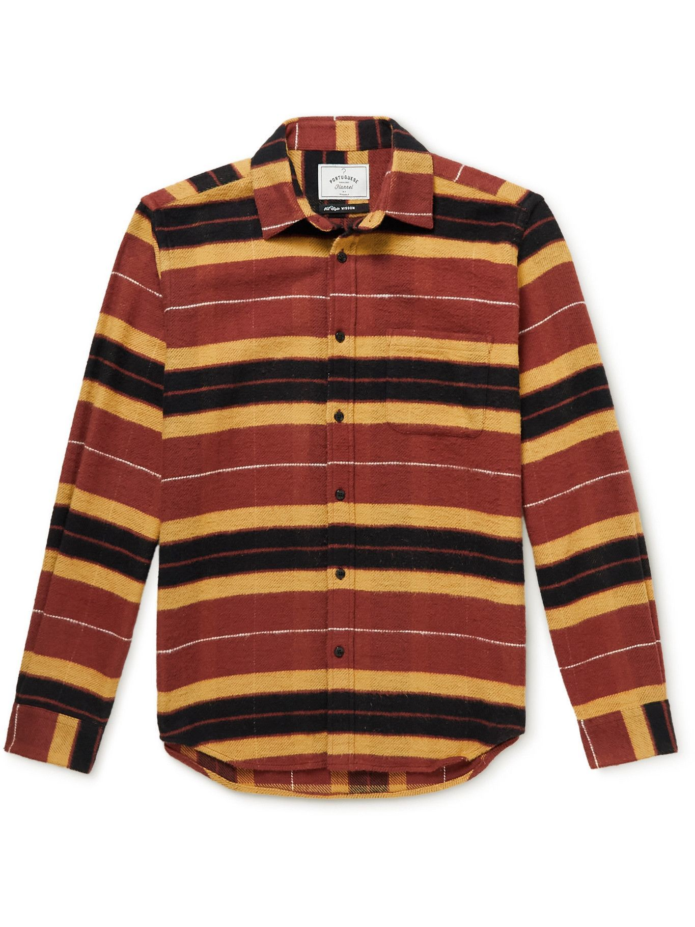 Photo: Portuguese Flannel - Baviera Striped Cotton-Flannel Shirt - Red