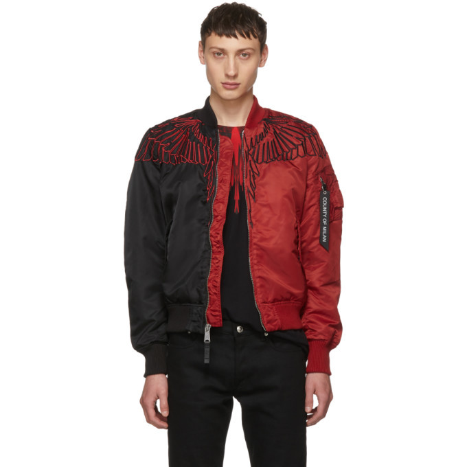 Photo: Marcelo Burlon County of Milan Black and Red Wings MA-1 Bomber Jacket
