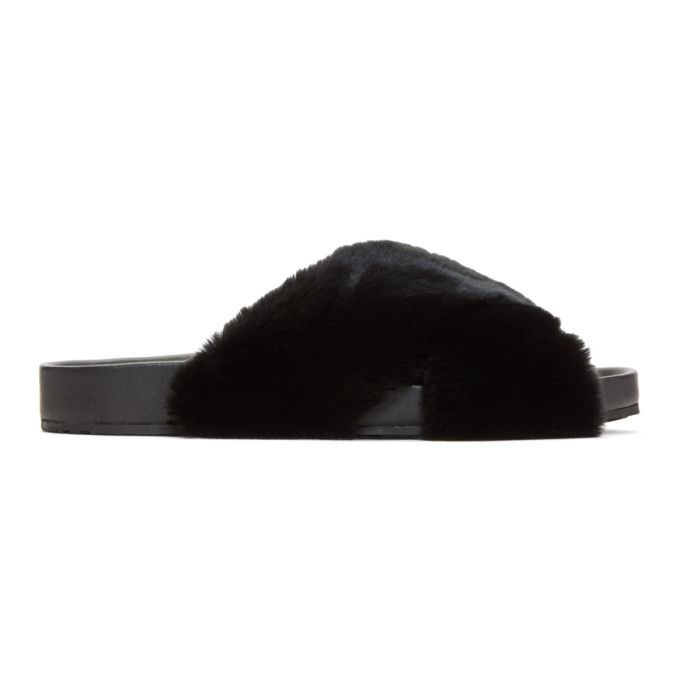 Photo: Dolce and Gabbana Black Fur Slides