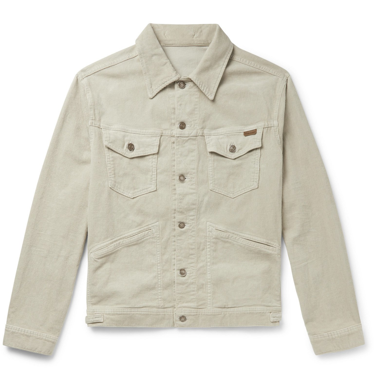 Photo: TOM FORD - Slim-Fit Washed Cotton-Blend Corduroy Trucker Jacket - Neutrals