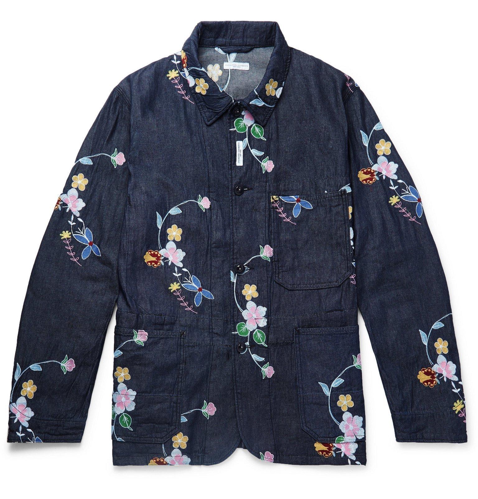 Photo: Engineered Garments - Embroidered Denim Chore Jacket - Blue