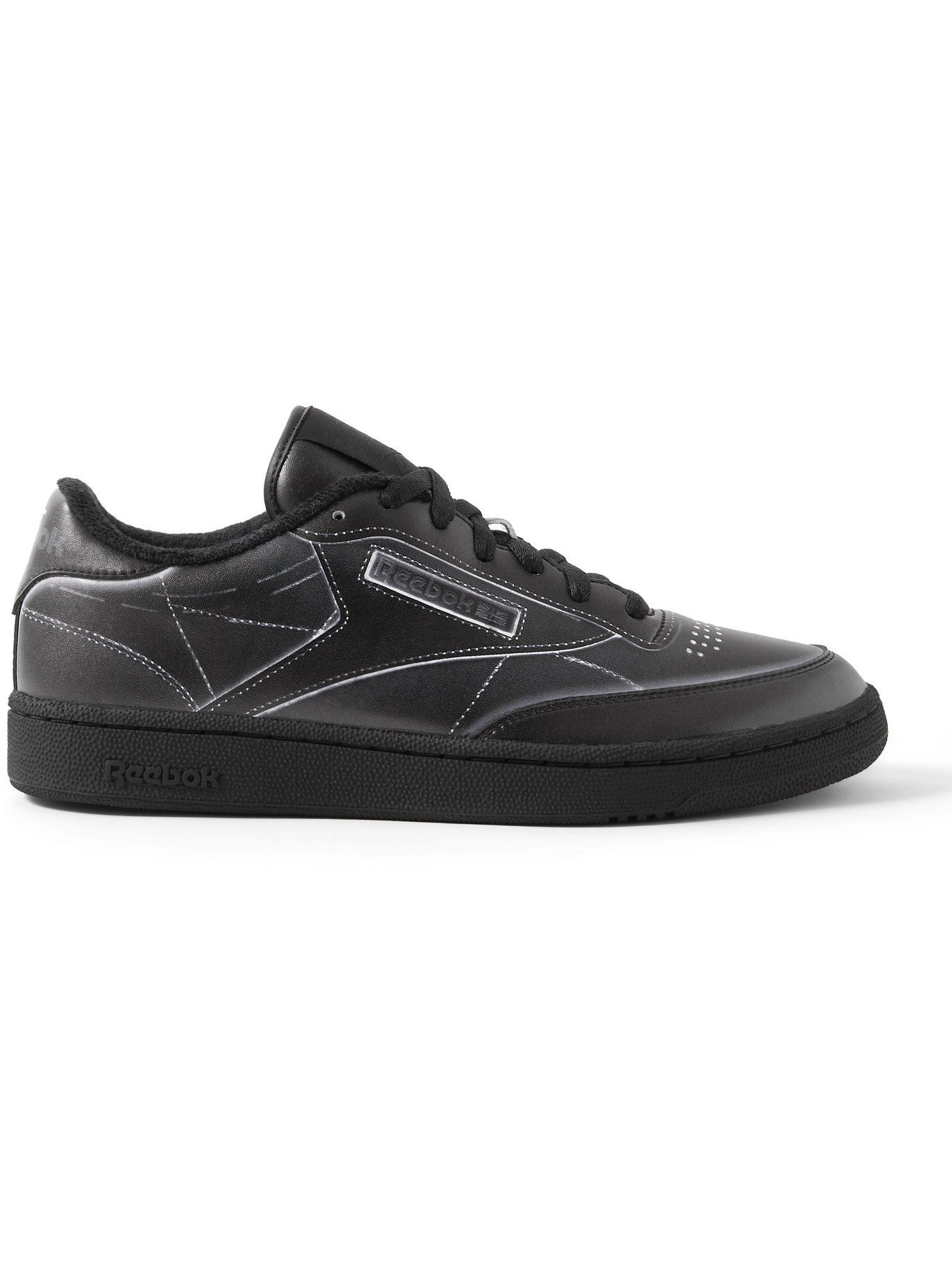 Photo: REEBOK - Maison Margiela Project 0 Club C Printed Leather Sneakers - Black - 9