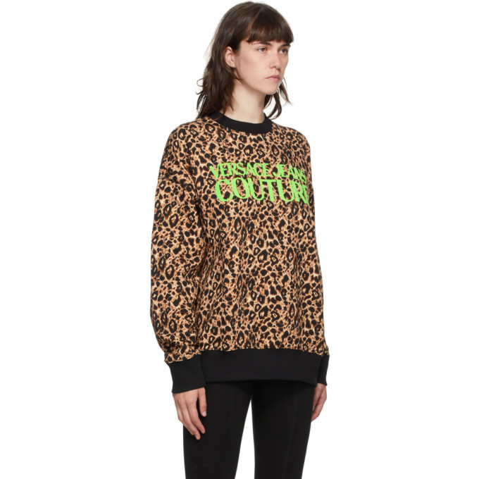 Versace Jeans Couture Beige and Black Leopard Logo Sweatshirt
