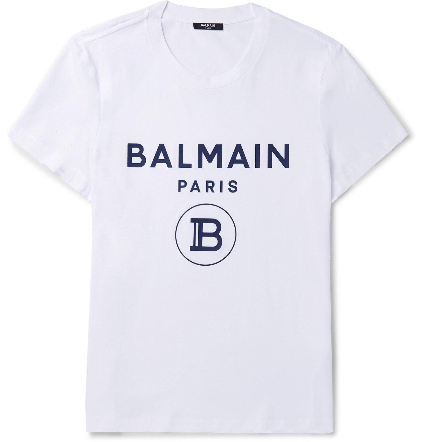 Photo: Balmain - Slim-Fit Logo-Flocked Cotton-Jersey T-Shirt - White