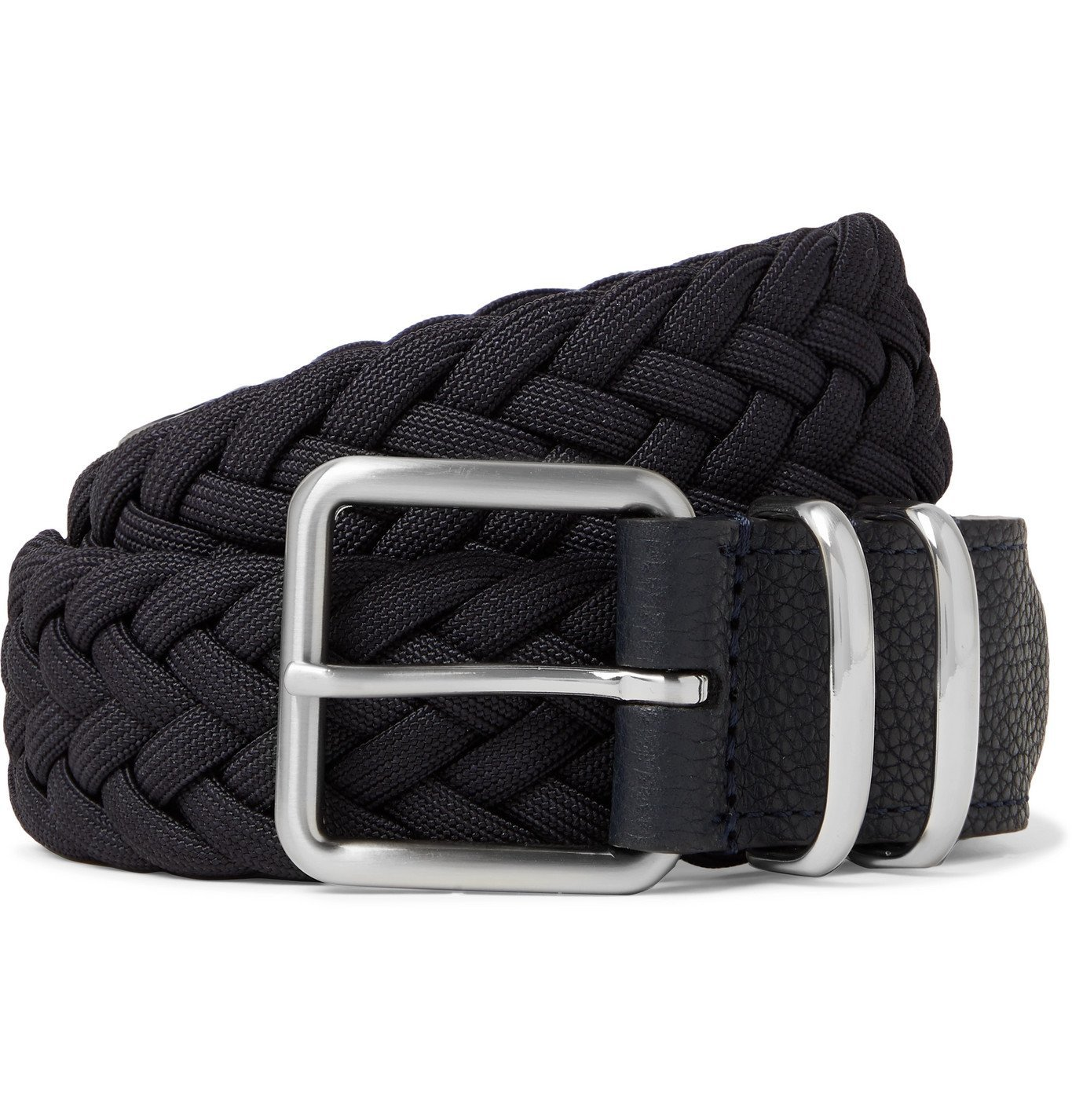 Photo: Anderson's - 3.5cm Leather-Trimmed Woven Elastic Belt - Blue