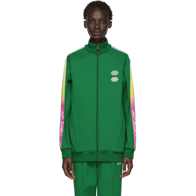 Photo: Off-White Green Logo Tape Track Jacket