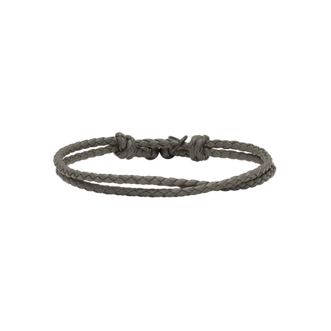 Bottega Veneta Grey Intercciato Double Strand Bracelet