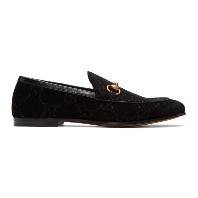 Photo: Gucci Black Velvet Jordaan GG Loafers