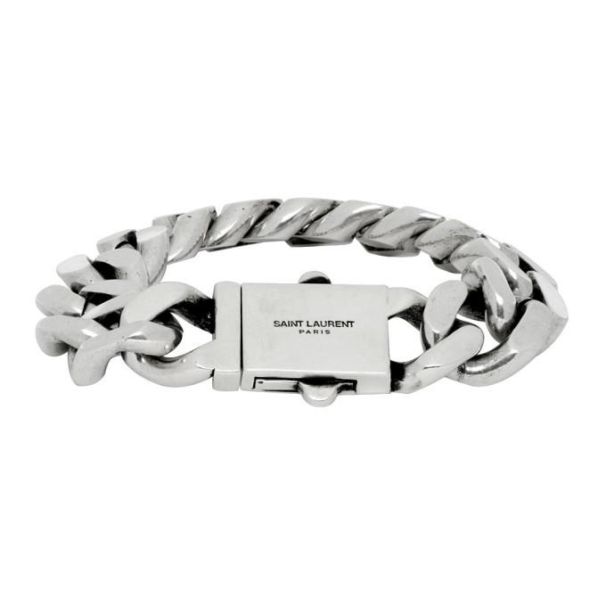 Photo: Saint Laurent Silver Curb Chain Bracelet