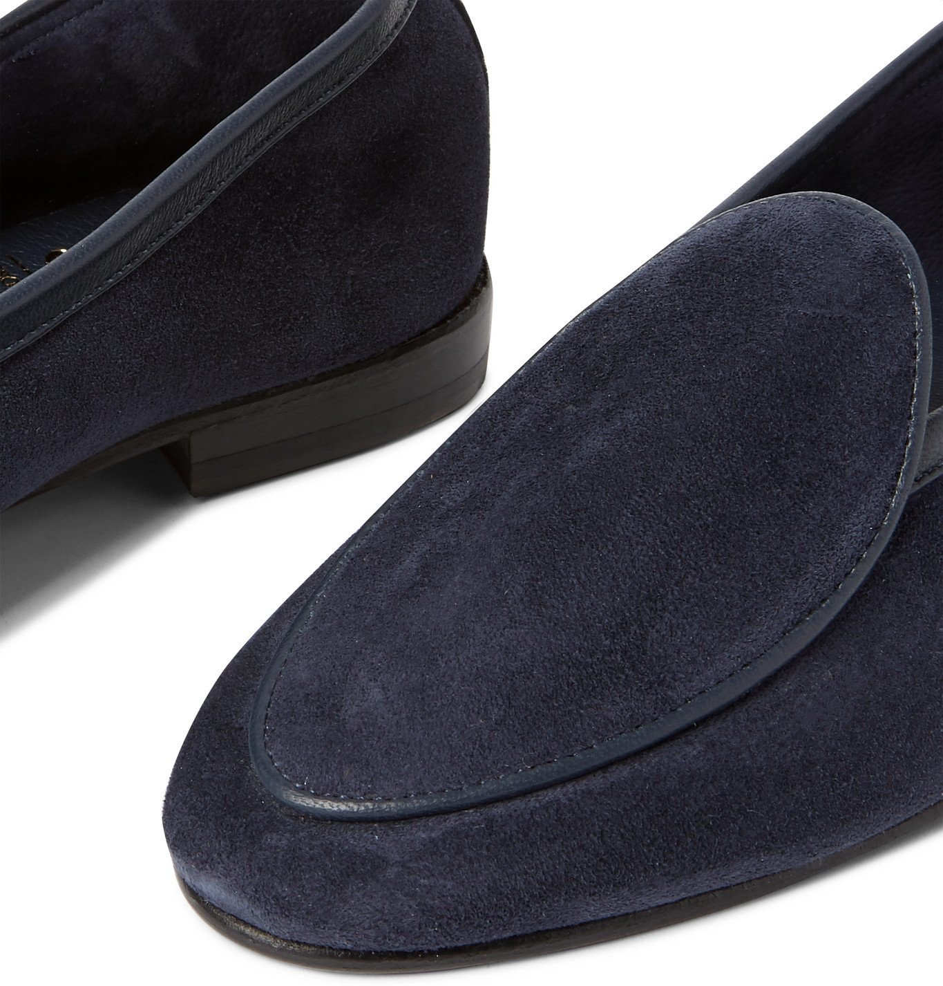 George Cleverley - Hampton Leather-Trimmed Suede Loafers - Blue