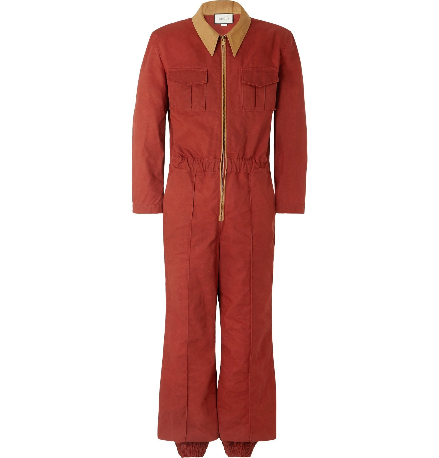 Photo: Gucci - Slim-Fit Tapered Cotton-Canvas Boilersuit - Red
