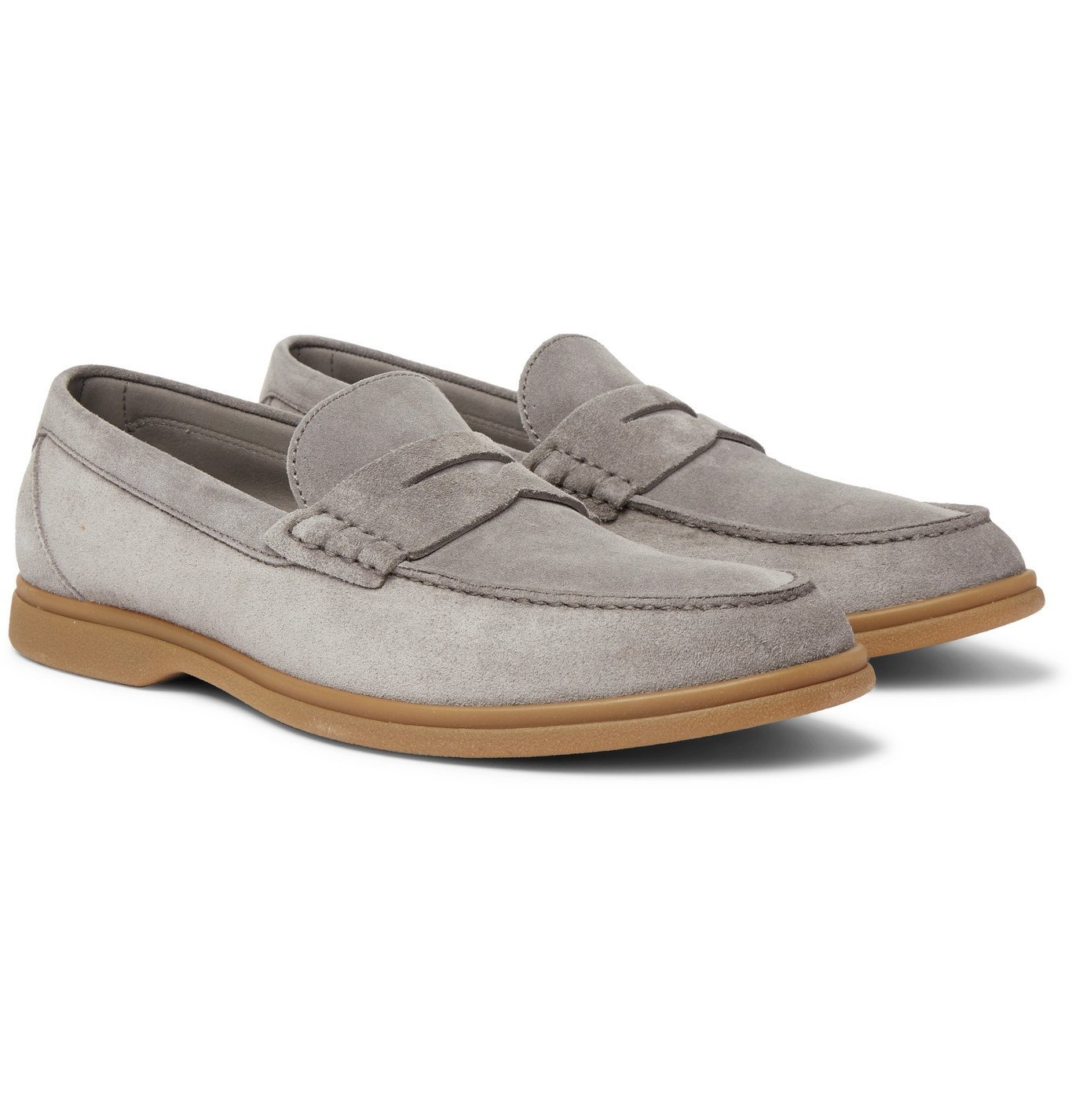 Photo: Brunello Cucinelli - Suede Penny Loafers - Gray