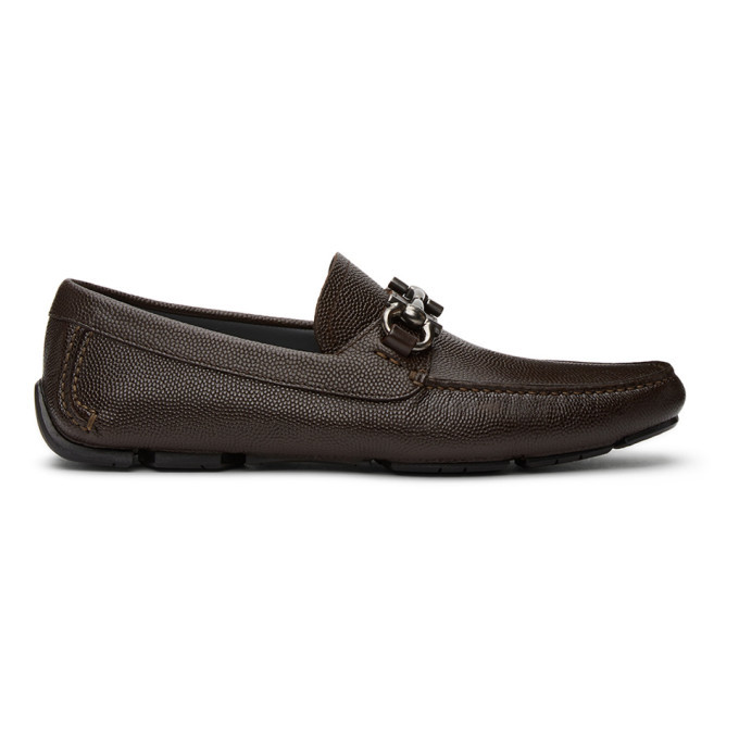 Photo: Salvatore Ferragamo Brown Gancini Driver Moccasins