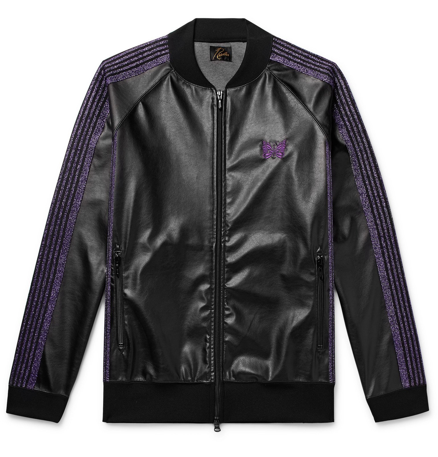 Photo: Needles - Logo-Embroidered Webbing-Trimmed Faux Leather Track Jacket - Black
