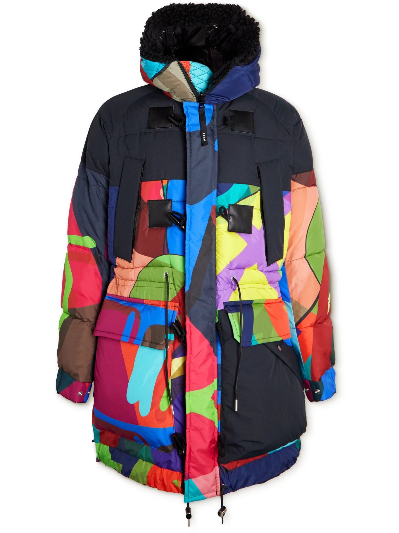 Sacai - KAWS Oversized Faux Fur-Trimmed Quilted Printed Shell Jacket - Multi
