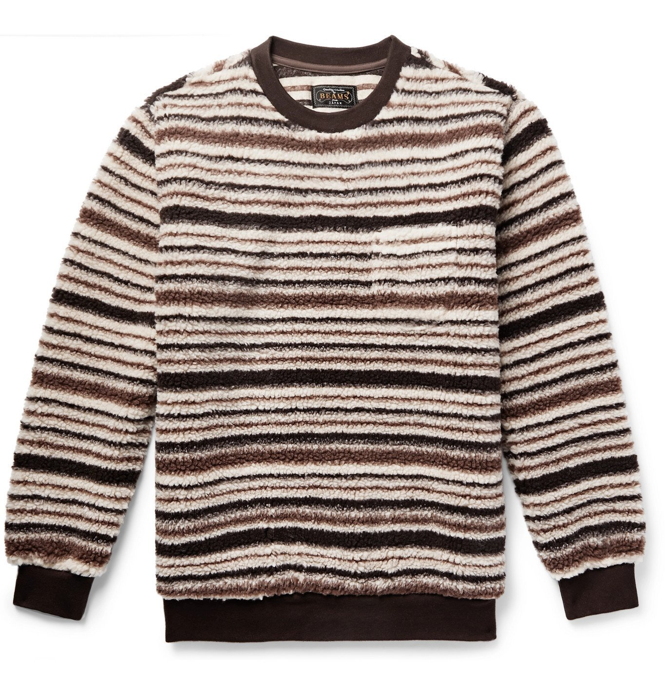 Photo: Beams Plus - Striped Fleece Sweatshirt - Brown