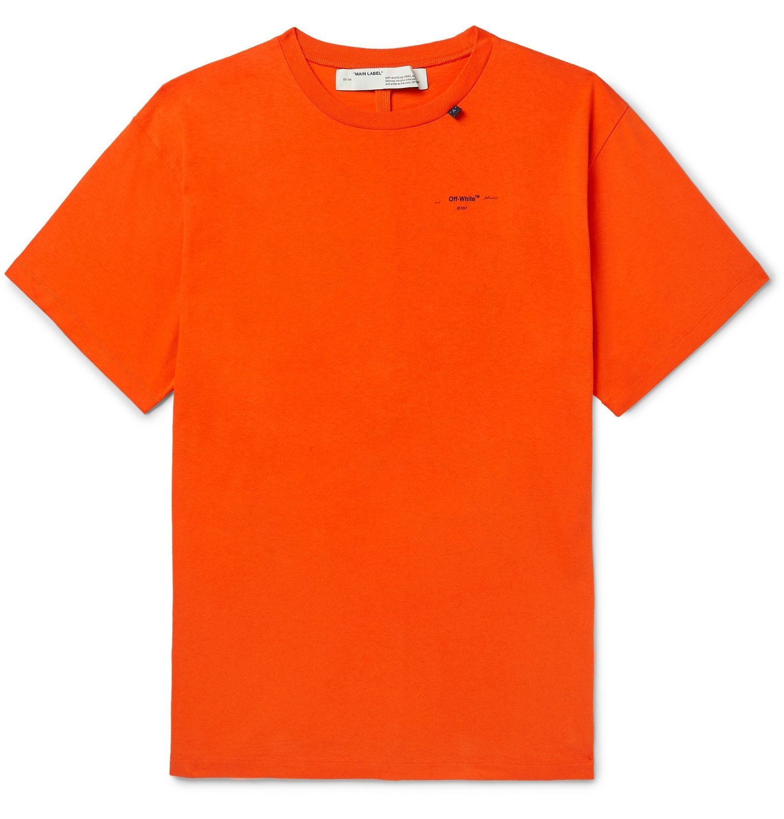 Photo: Off-White - Embroidered Cotton-Jersey T-Shirt - Orange