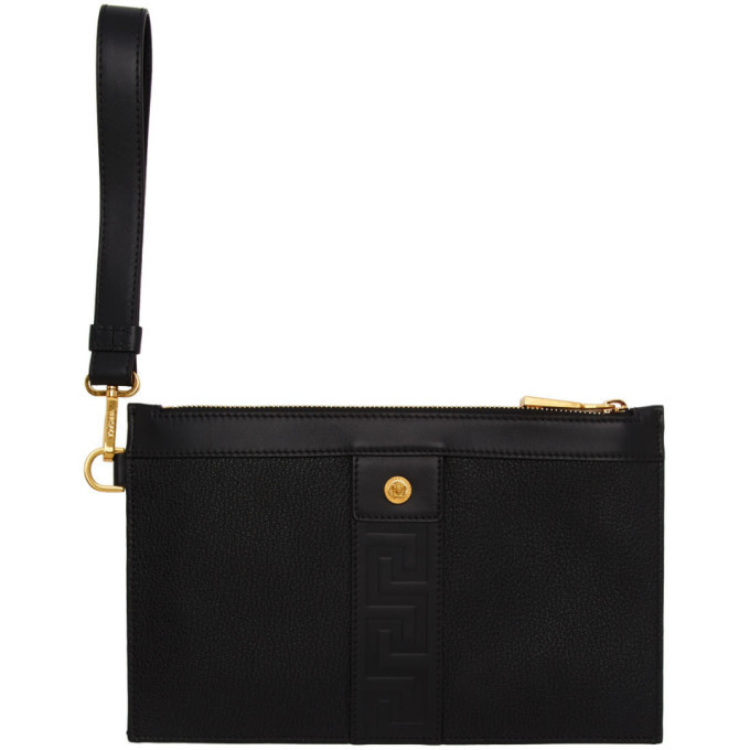 Photo: Versace Black and Gold Small Tribute Cordura Zip Pouch