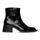 Martine Rose Black Patent Cream Chelsea Boots