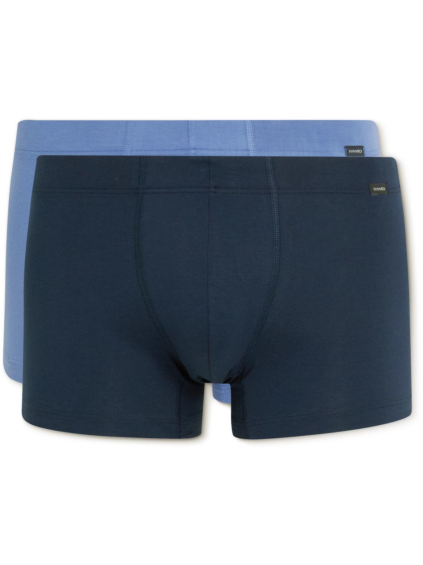 Photo: Hanro - Two-Pack Stretch-Cotton Boxer Briefs - Blue