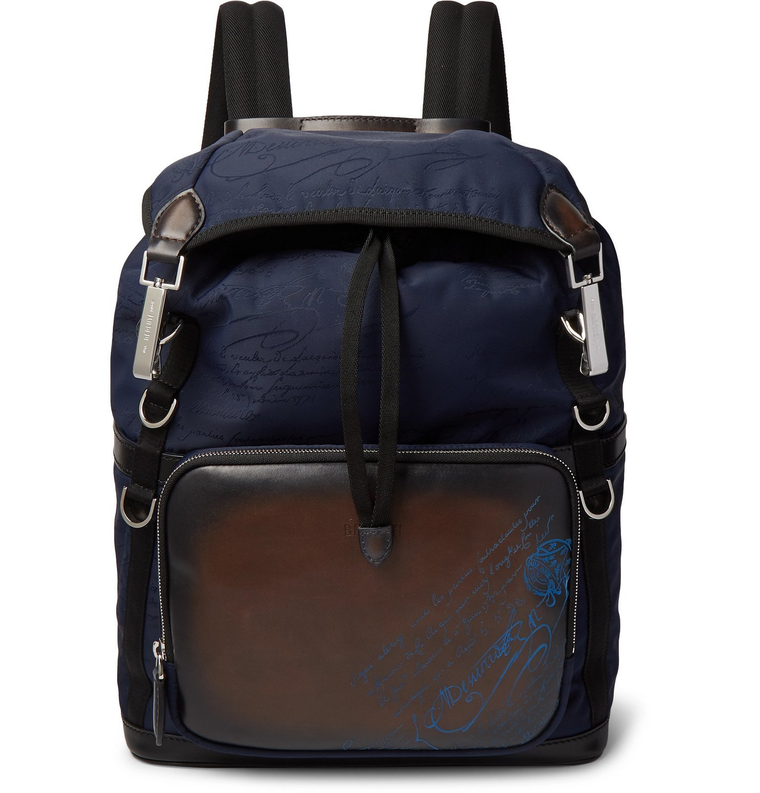 Photo: Berluti - Scritto Leather and Jacquard Backpack - Blue