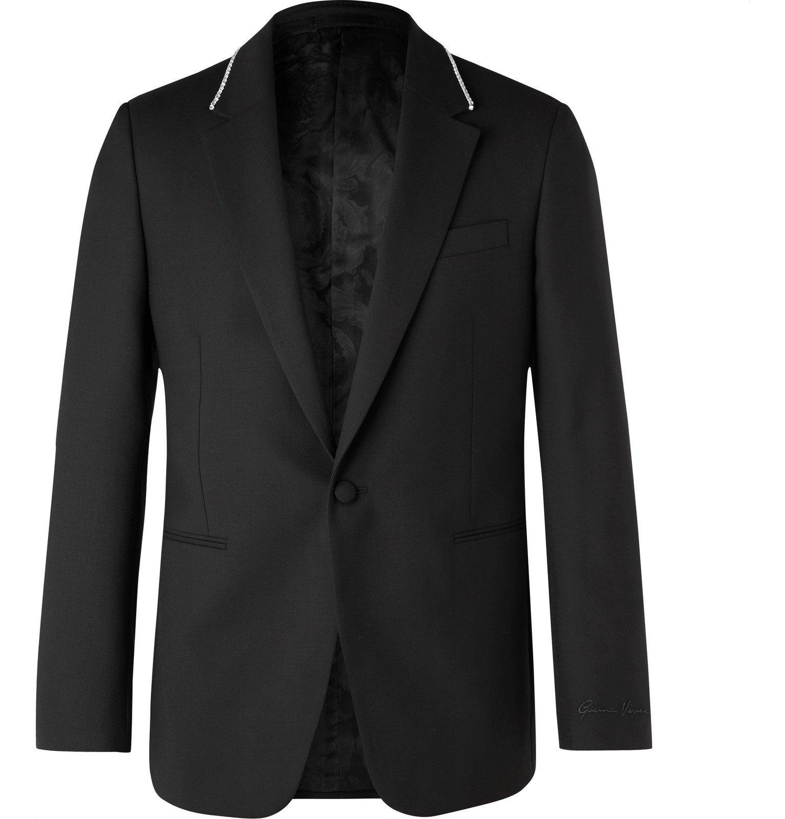 Photo: Versace - Black Slim-Fit Crystal-Embellished Virgin Wool Blazer - Black