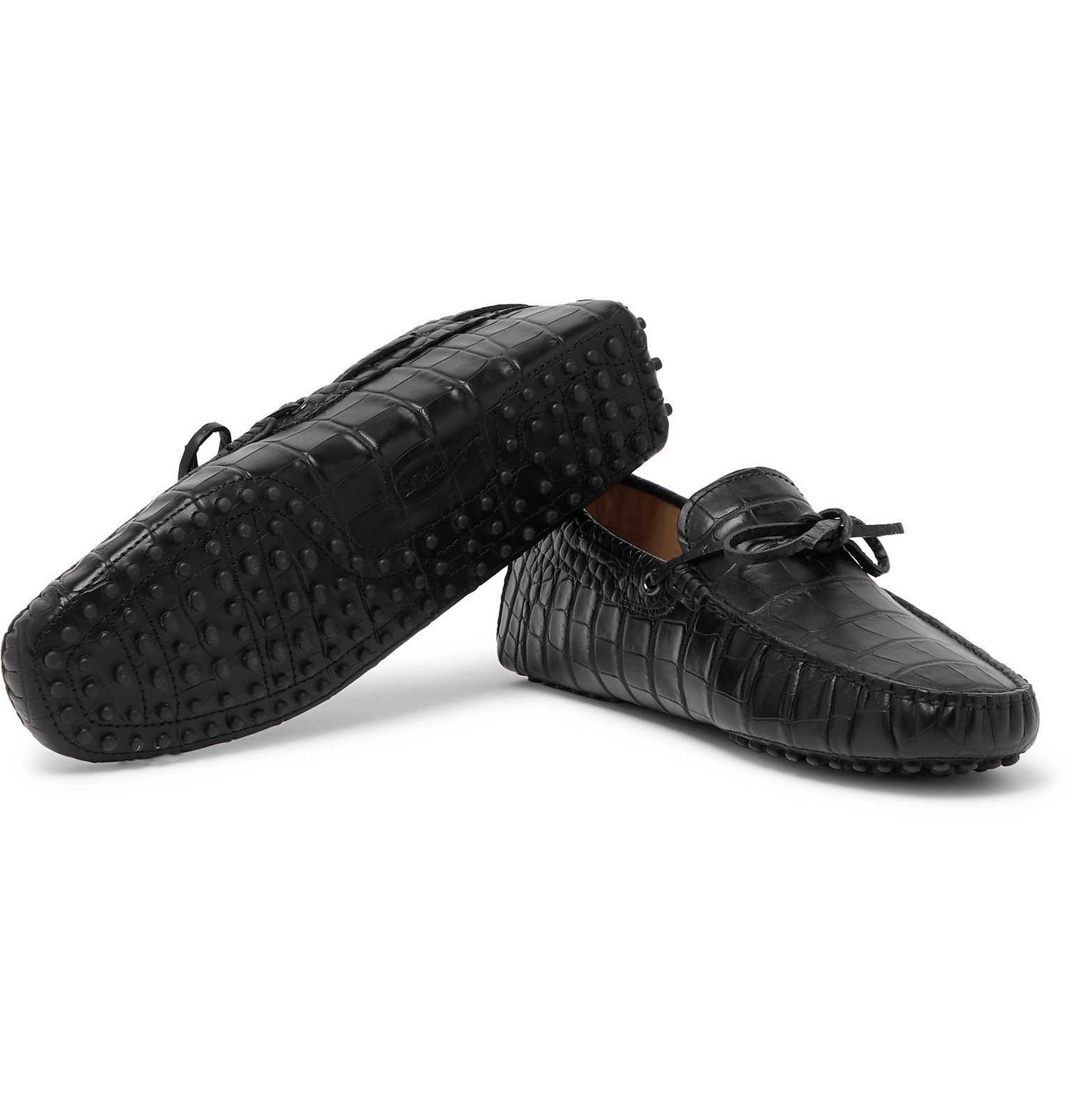 Tod's - Gommino Croc-Effect Leather Driving Shoes - Black