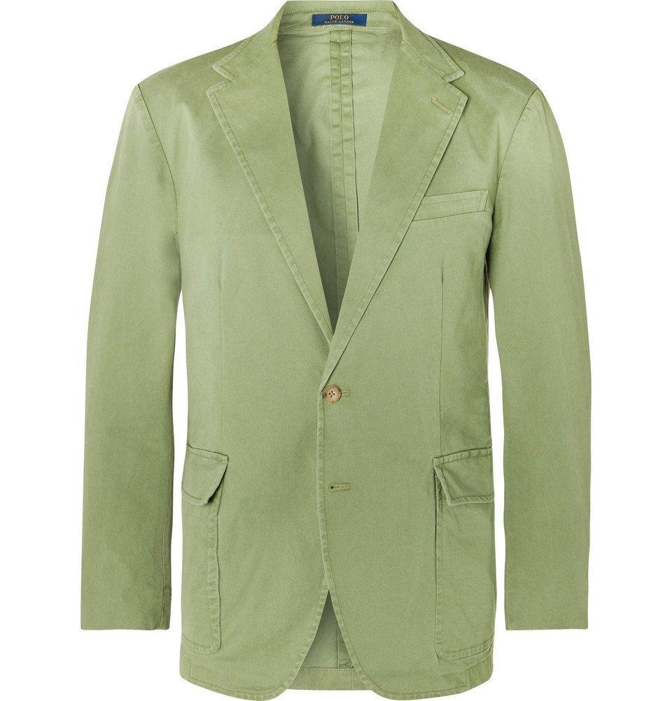 Photo: Polo Ralph Lauren - Green Slim-Fit Unstructured Brushed Cotton-Blend Twill Blazer - Green