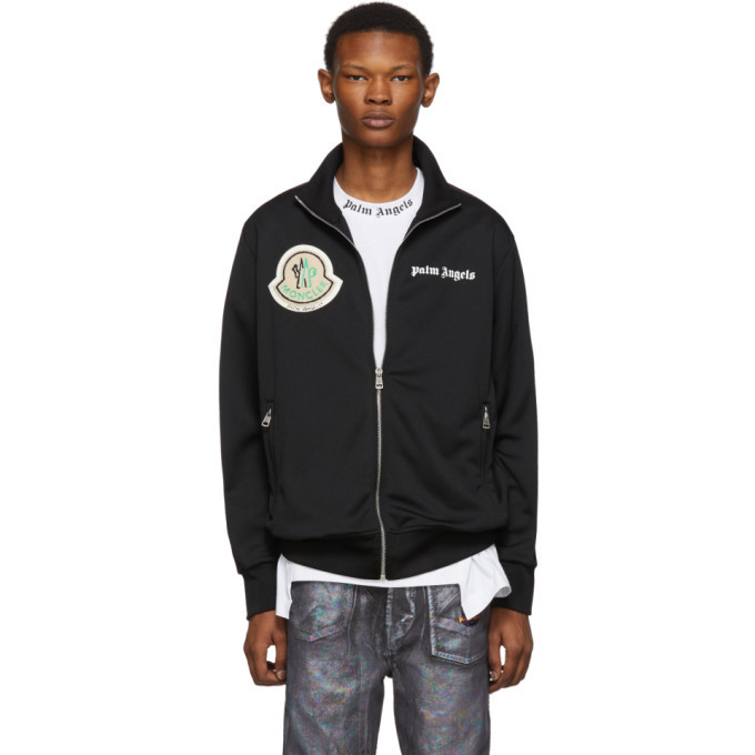 Photo: Moncler Genius 8 Moncler Palm Angels Black Jersey Zip-Up Jacket